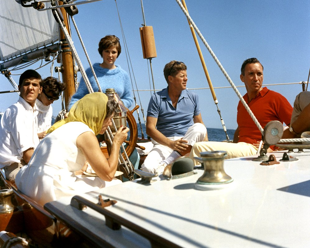 "PRESIDENT JOHN F. KENNEDY AND OTHERS ABOARD THE ""MANITOU"" - 8X10 PHOTO (AA-691)"