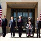 BARACK OBAMA WITH FORMER PRESIDENTS AT THE GEORGE W BUSH MUSEUM DEDICATION - 8X10 PHOTO (ZY-281)