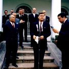 PRESIDENT JOHN F. KENNEDY SPEAKS TO REPORTERS ROSE GARDEN - 8X10 PHOTO (AA-323)