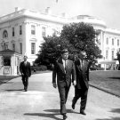 PRESIDENT JOHN F. KENNEDY & LYNDON JOHNSON ON SOUTH LAWN - 8X10 PHOTO (AA-335)