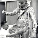 ASTRONAUT ALAN SHEPARD SUITED-UP BEFORE FREEDOM 7 LAUNCH - 8X10 PHOTO (EP-473)