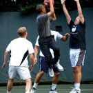 PRESIDENT BARACK OBAMA TAKES SHOT DURING BASKETBALL GAME - 8X10 PHOTO (AA-839)