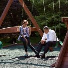 PRESIDENT BARACK OBAMA TALKS WITH DAUGHTER MALIA IN 2010 - 8X10 PHOTO (ZY-321)
