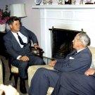 PRESIDENT JOHN F. KENNEDY WITH BRITISH PM HAROLD MACMILLAN - 8X10 PHOTO (AA-283)