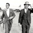 DEAN MARTIN & FRANK SINATRA ON THE LONDON AIRPORT TARMAC - 8X10 PHOTO (AA-050)