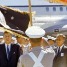 JOHN F. KENNEDY WELCOMED BY COLOR GUARD AT CAPE CANAVERAL - 8X10 PHOTO (EP-434)
