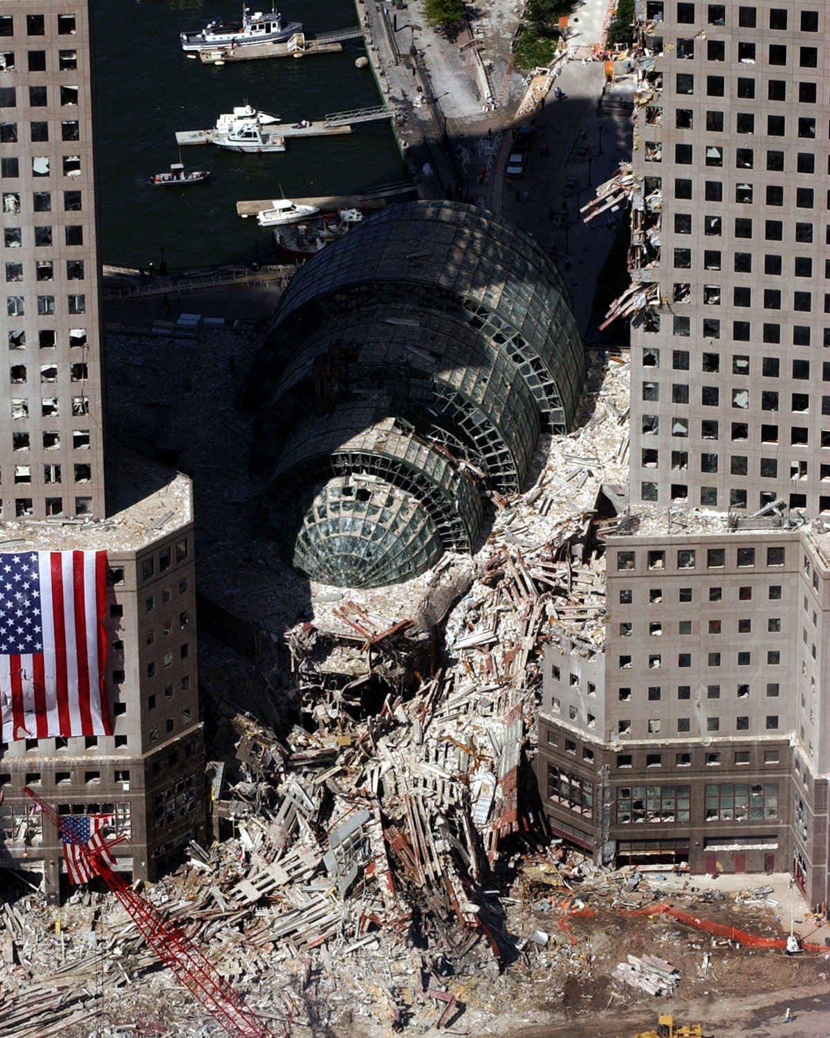 DAMAGE AT AND NEAR WORLD TRADE CENTER FROM SEPTEMBER 11 - 8X10 PHOTO (EP-730)