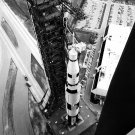 SATURN V ROCKET ROLLS OUT OF VEHICLE ASSEMBLY BUILDING 8X10 NASA PHOTO (EP-945)