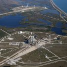 AERIAL VIEW OF LAUNCH PADS A & B COMPLEX 39 AT NASA KSC - 8X10 PHOTO (EP-652)