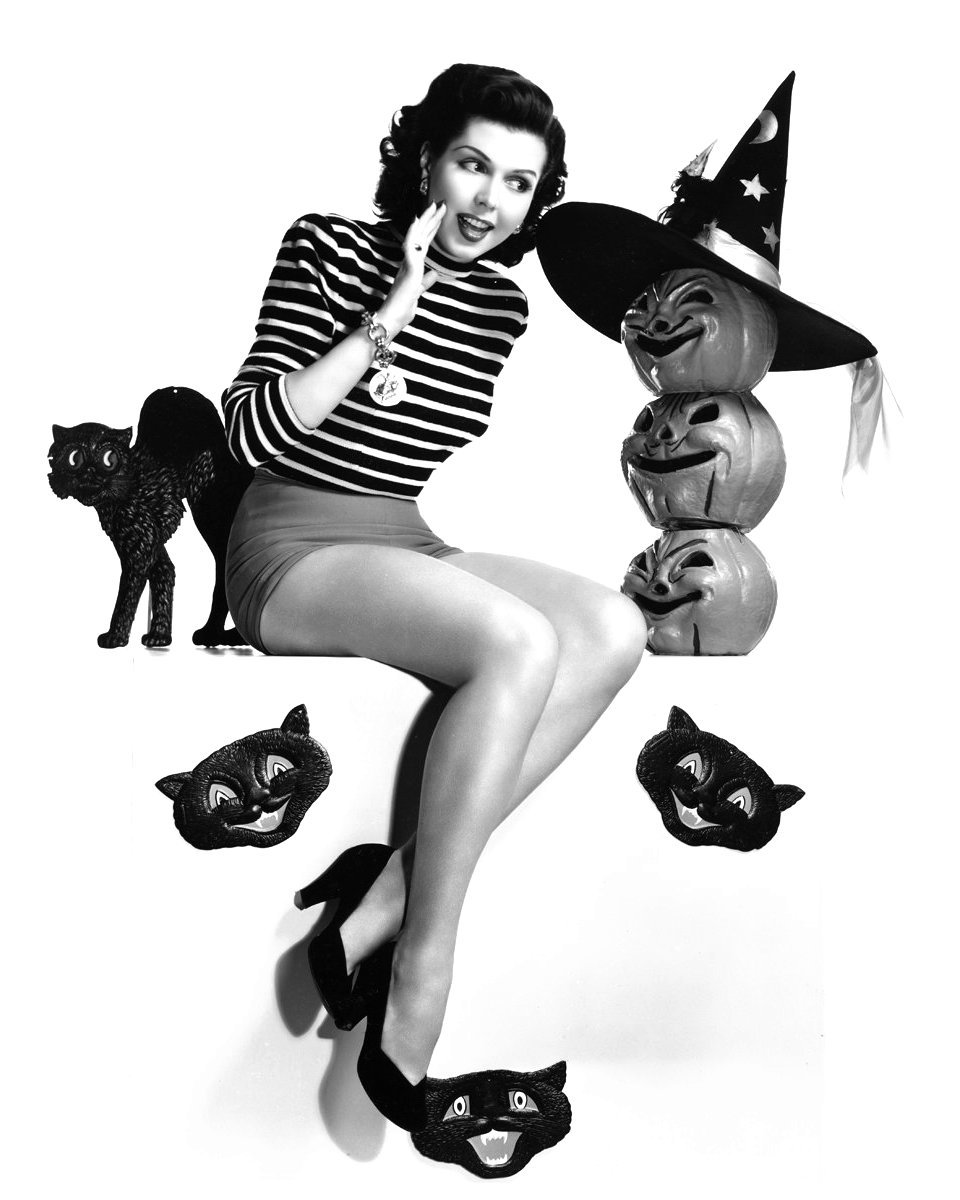 ACTRESS ANN MILLER PIN-UP - 8X10 HALLOWEEN THEMED PUBLICITY PHOTO (ZY-365)