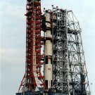 APOLLO 13 SATURN V ON PAD IN MOBILE SERVICE STRUCTURE - 8X10 NASA PHOTO (ZZ-218)