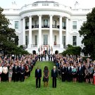 BARACK OBAMA & WHITE HOUSE STAFF OBSERVE MOMENT OF SILENCE SEPTEMBER 11TH - 8X10 PHOTO (ZY-387)