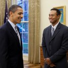 PRESIDENT BARACK OBAMA WITH TIGER WOODS IN 2009 - 8X10 PHOTO (ZY-399)