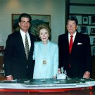 PRESIDENT RONALD REAGAN & NANCY WITH USS RONALD REAGAN MODEL 8X10 PHOTO (EP-813)