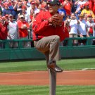 BARACK OBAMA THROWS FIRST PITCH WASHINGTON NATIONALS IN 2010 8X10 PHOTO (ZY-627)
