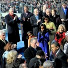 BARACK OBAMA SPEAKS WITH DIGNITARIES PRIOR TO TAKING OATH - 8X10 PHOTO (ZY-640)