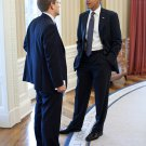 BARACK OBAMA TALKS WITH PRESS SECRETARY JAY CARNEY IN 2011 - 8X10 PHOTO (ZY-514)