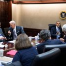 PRESIDENT BARACK OBAMA w/ JOE BIDEN OTHERS IN SITUATION ROOM 8X10 PHOTO (ZY-538)