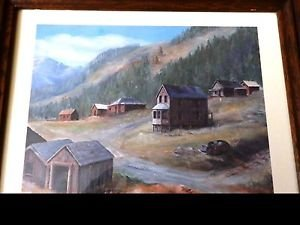 The town at the top of the Mountain lithograph signed
