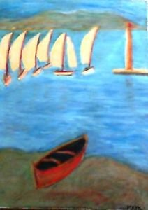 Sail Boats By the bay, a painting by mark