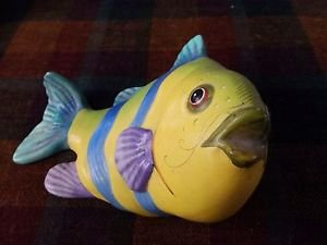 """Ceramic Brightly Colored Fish 4 1/2"""" Height"""