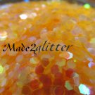Iridescent Neon Orange Hexagon glitter