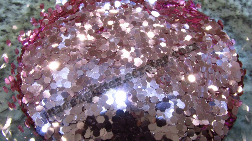 Metallic pnk Hexagon glitter
