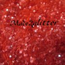 Coral Red hexagon glitter