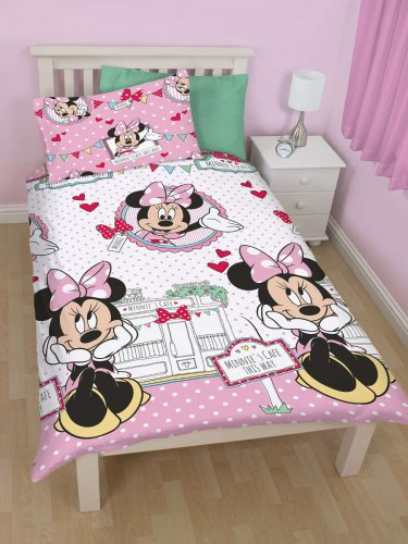 DISNEY MINNIE MOUSE 'CAFE' SINGLE DUVET COVER SET NEW