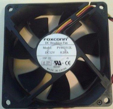 3-Pin FoxConn PV802512L Brushless Computer Fan 12VDC-0.20A 80x80x25mm