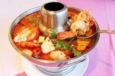 25cm Tom Yum Pot,Thai Food,Aluminum Hot Heated Serving Soup Bowl Kung Goong Prawn