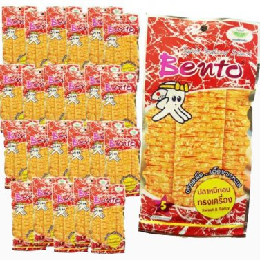 BENTO Squid Seafood Snack - Sweet&Spicy Flavor 6g X 24 Packs Thai Food