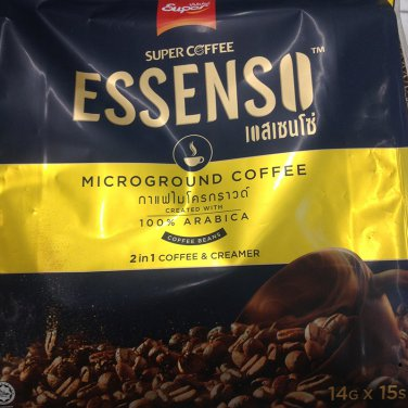 Super Coffee Essenso Microground Coffee Created with 100% Arabica 2 in 1 Coffee & Cream 14Gx15s