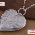 "Silver Heart Photo Locket Pendant Necklace 20"" + Velvet Pouch, See Details Below"