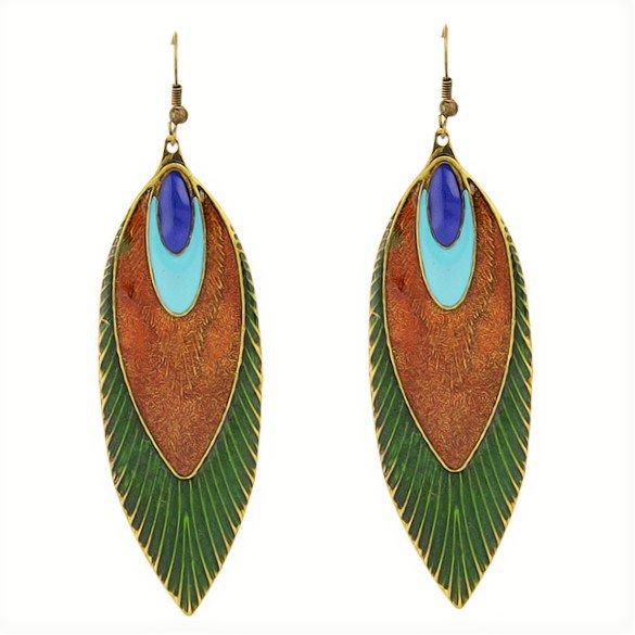 Fashion Bohemia Ethnic Multicolor Antique Brass Peacock Feather Long Drop Dangle Earrings