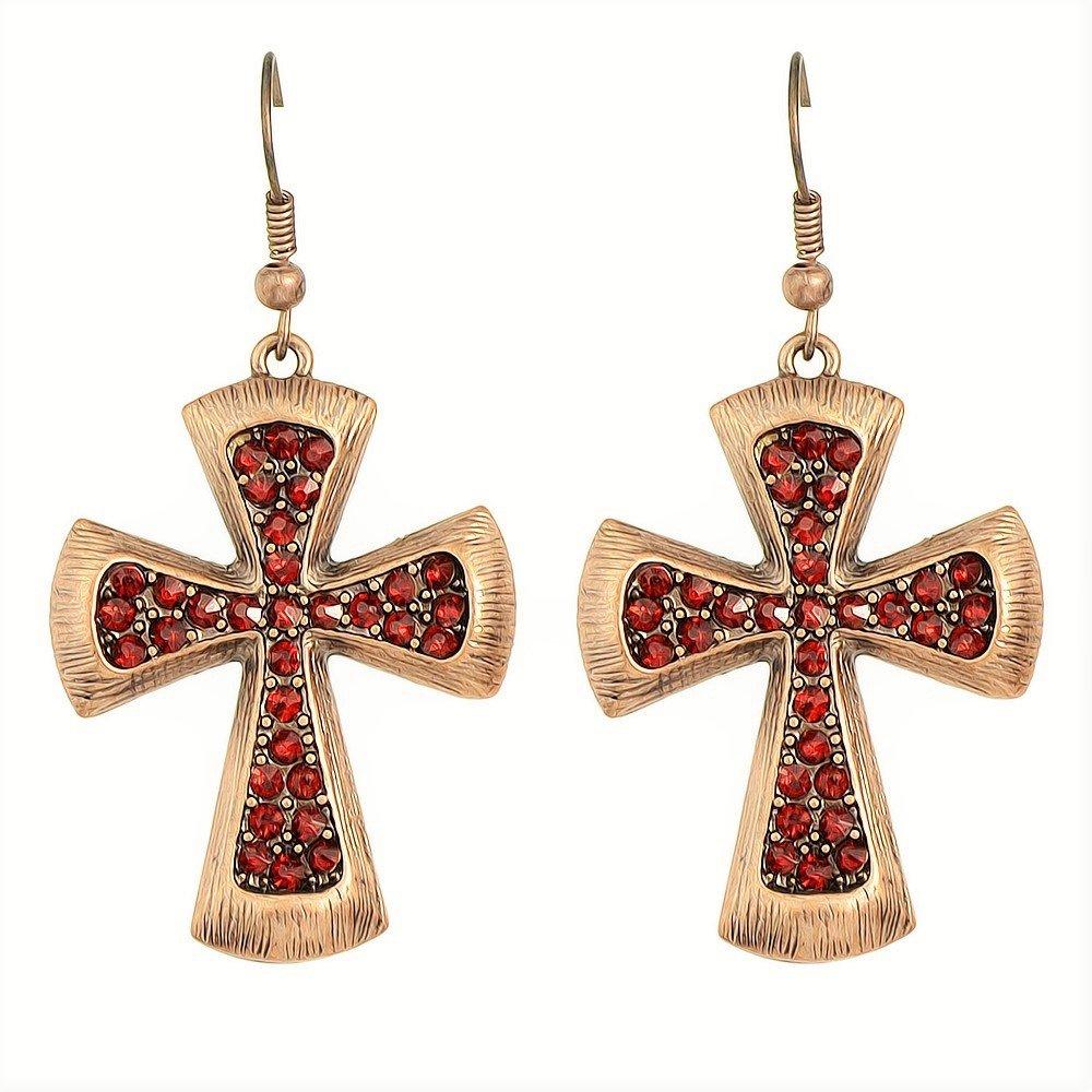 Fashion Gypsy Vintage Antique Copper Red Crystal Rhinestone Cross Hoop Drop Earrings