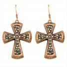 Fashion Gypsy Vintage Antique Copper Gun Black Crystal Rhinestone Cross Hoop Drop Earrings
