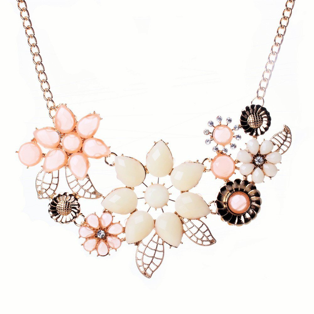 Elegant Bohemian 18K Gold Plated Multicolor Stone Beads Bauhinia Flowers Chunky Statement Necklace