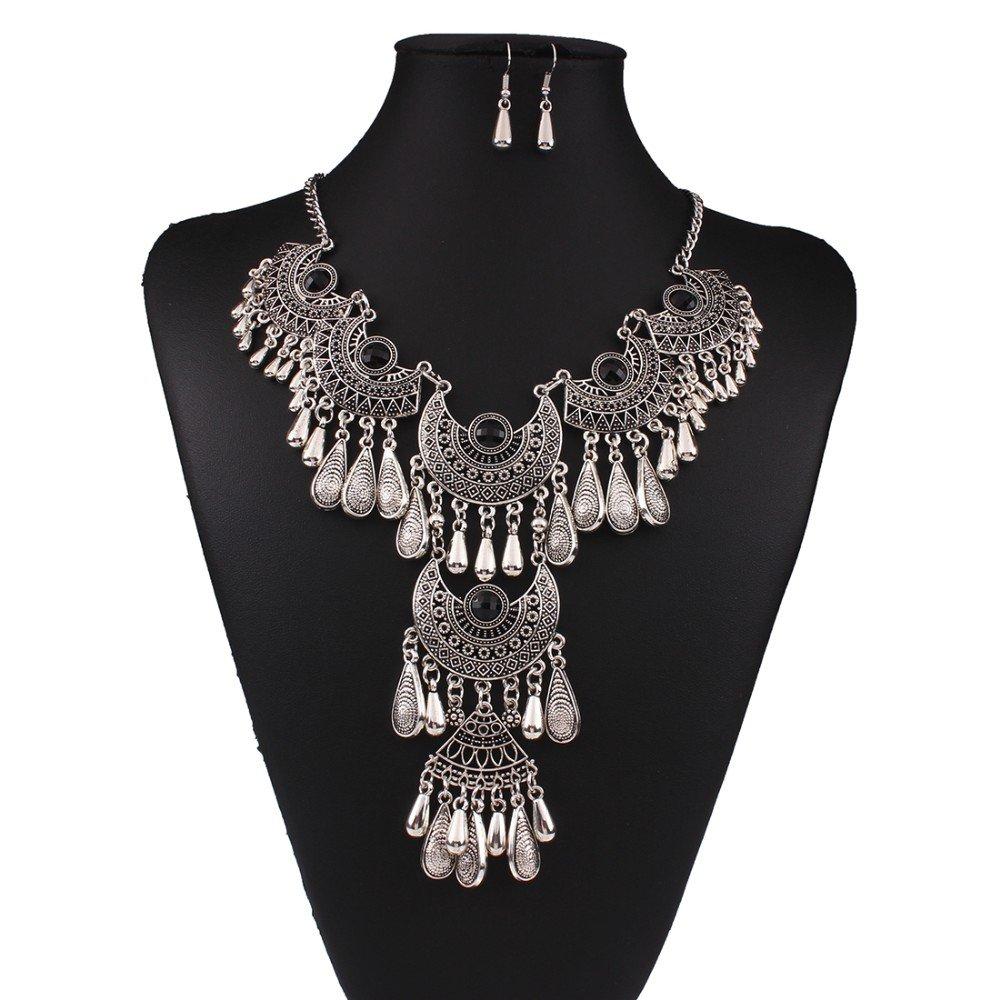 Antique Silver Vintage Black Crystal Gypsy Indian Tassel Chandelier Bib Statement Drop Necklace Set