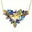 Elegant Boho Antique Gold Plated Multicolor Rhinestone Gemstones Flower Chain Statement Bib Necklace