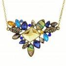 Elegant Boho Antique Gold Plated Multicolor Rhinestone Gemstones Flower Chain Statement Bib Necklace