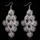 Romantic Fashion Silver Plated Bijoux Rose Flower Chandelier Drop Dangle Earrings