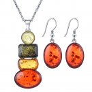 African Bohemia Silver Plated Cubic Zircon Multicolor Amber Gemstone Pave Rectangular Necklace Sets