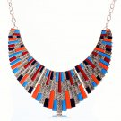 Bohemian Egyptian Punk Tribal Spike 18K Gold Plated Multicolor Revival Bib Chunky Statement Necklace