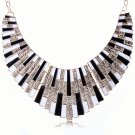 Bohemian Egyptian Punk Tribal Spike 18KGold Plated Black White Revival Bib Chunky Statement Necklace