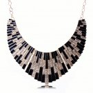 Bohemian Egyptian Punk Tribal Spike 18K Gold Plated Black Revival Bib Chunky Statement Necklace