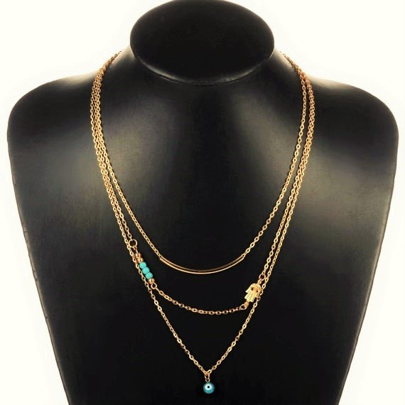 Boho Gold Plated Fatima Hamsa Multi-Layers Turquoise Beads Long Chain Bar Pendant Necklace