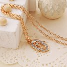 Chic Boho Crystal Rhinestone Stainless Steel Gold Hamsa Hand Palm Chain Pendant Necklace