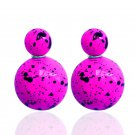 Hot Fashion Retro Candy Color Purple Graffiti Print Double Side Pearl Stud Earrings