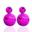 Hot Fashion Retro Candy Color Purple Graffiti Print Double Side Pearl Stud Earrings